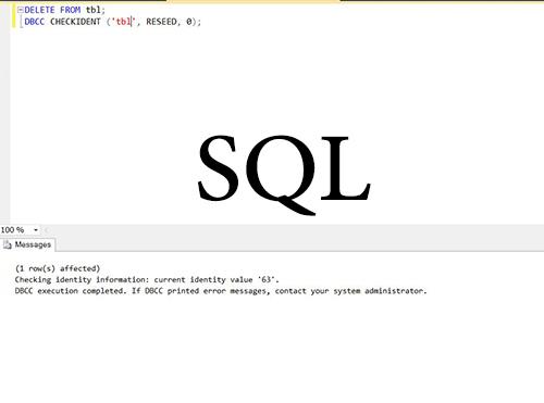 بازگردانی کد identity sql شروع از اول