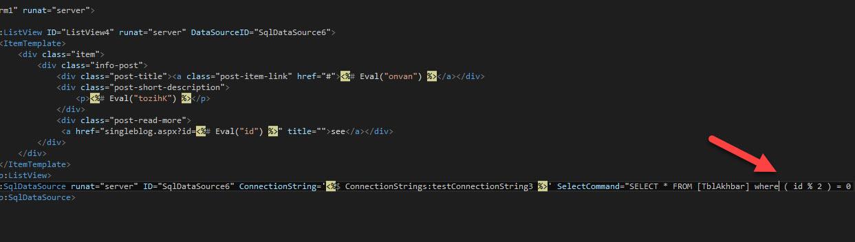 نمایش آیدی های زوج و فرد از sql server با استفاده از asp.net